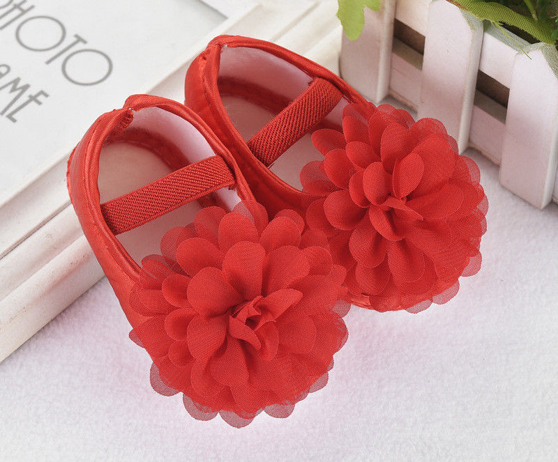 Cute Newborn Baby Girls Shoes Flower Princess Crib Shoes Soft Sole Anti-slip Prewalker Shoes