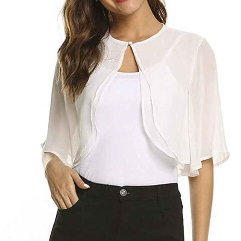 Womens Fashion Half Sleeve Layered Open Front Loose Sheer Bolero Chiffon Shrug Cardigan Top For Wedding Party Dress Capes Robe