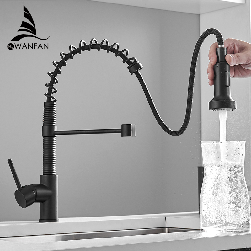 WANFAN Modern Polished Chrome Brass Kitchen Sink Faucet Pull Out Single Handle Swivel Spout Vessel Sink Mixer Tap 866055