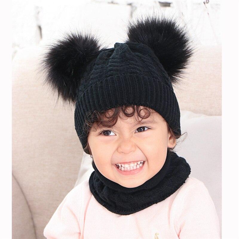 Winter Hat And Scarf For Children Faux Scorpion Hair Ball Baby Knitting Hats Scarves Set Kids Wool Bonnet Echarpe Gorro Bufanda