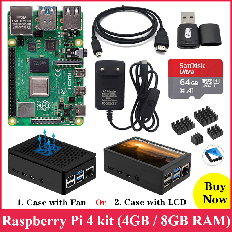 Original Raspberry Pi 4 Model B Kit ABS Case Fan or 3 5 inch Touch Screen 3A Type-C Power Supply Heat Sink for Raspberry Pi 4 4B