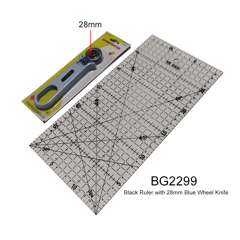 Patchwork Tool combination 1 pcs 15 * 30cm Transparent Acrylic Material Patchwork Ruler And 1 pcs 45mm Round Knife