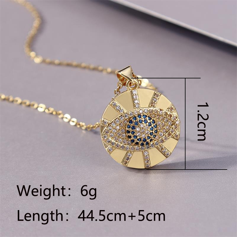 Stainless Steel Paved CZ Stone Evil Eye Necklace Turkish Blue Sun Round Amulet Necklaces For Women Men Protection Jewelry