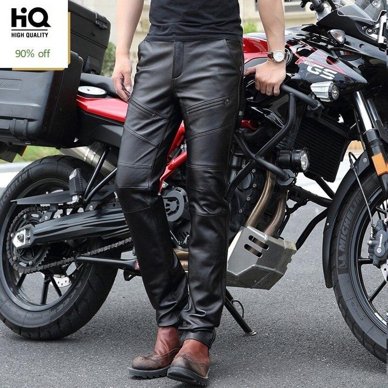Winter Warm Fleece Lining Motorcycle Pants Men Windproof Genuine Leather Punk Cargo Trousers Men Zipper Biker Streetwear Pants