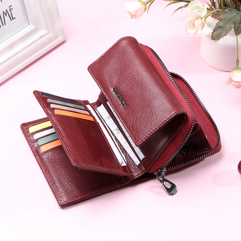 Contact's 100% Genuine Leather Fashion Women Wallets Trifold Design Money Bag Zipper Small Coin Purse For Girls Card Holders