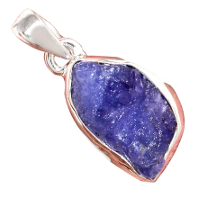 Genuine TANZANITE ROUGH Pendant 925 Sterling Silver, Women Fine Jewelry