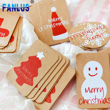 100pcs/lot Happy Merry Christmas Kraft Paper Tag Ornaments Decorations for Home Party Faovrs Xmas Trees Decoration Stocking Deco