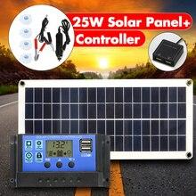 Painel solar 12v usb duplo de 25w, com saída 10/20/30/40/controlador de carregador solar usb 50a para acampamento ao ar livre, luz de led