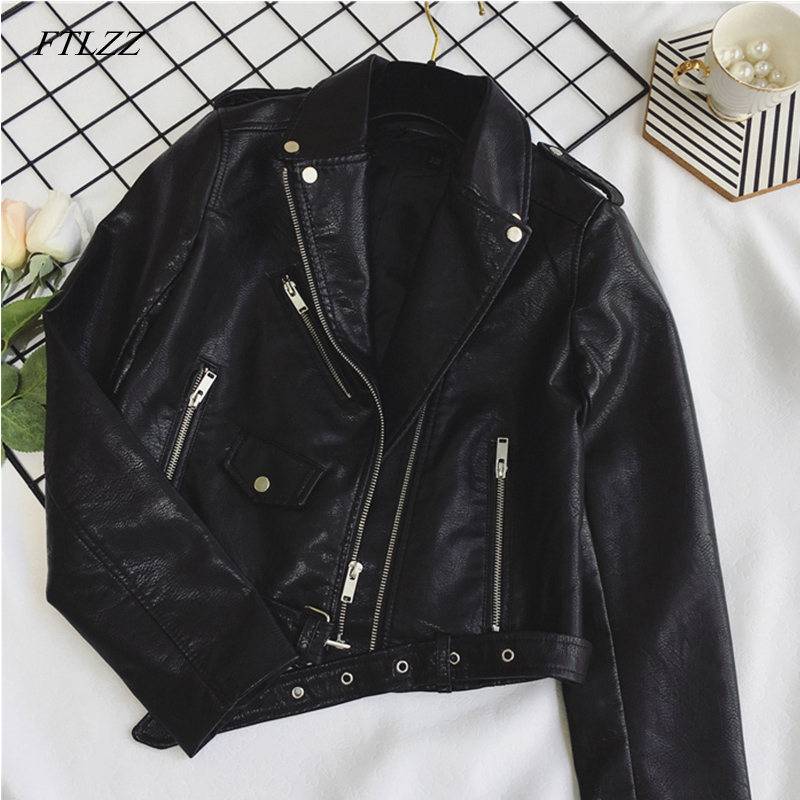 FTLZZ New Women Pu Leather Jacket Fashion Bright Color Black Motor Coats Short Faux Leather Biker Jackets Coat Female