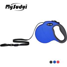 MySudui 4 メートル 5 メートルのナイロンペットの犬の鎖格納式自動ランニング犬リードトレーニング犬伸縮リード大中調整可能な