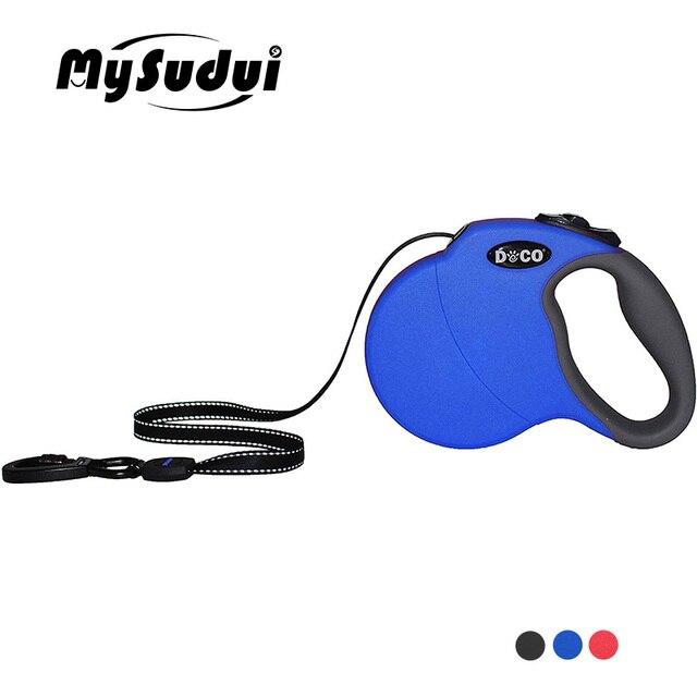 MySudui 4 متر 5 متر النايلون سلسلة كلب حيوان أليف قابل للسحب التلقائي تشغيل الكلب الرصاص التدريب الكلب قابل للسحب المقود كبير متوسط قابل للتعديل