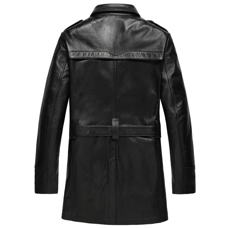 Genuine Leather Jacket Autumn Winter Jacket Men Goatskin Long Coat Streetwear Windbreaker Jackets Chaqueta Hombre MY1211