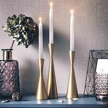 Candelabros De Metal nórdicos para Mesa De boda, Centro De Mesa De decoración romántica De oro moderno para el hogar