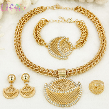 Liffly African Jewelry Sets Women Classic Necklace Earrings Ring Bracelet Wedding Jewelry Crystal Pendant Jewelry Sets for Women