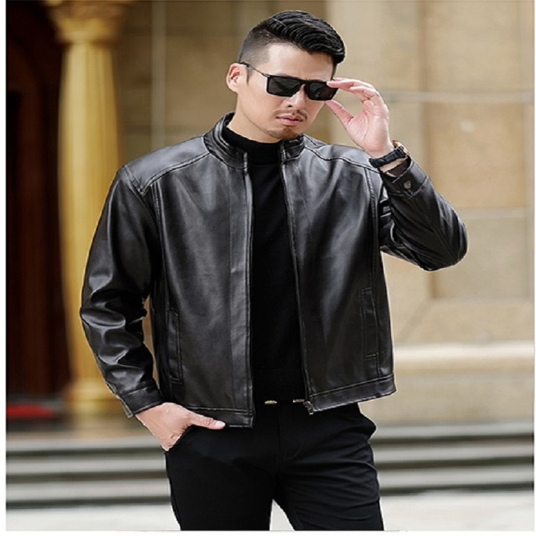 All Types Of High Quality Middle-aged Leather Coat Men's PU Leather Jacket Plus Velvet Men's Daddy Clothes Coat Style Novel