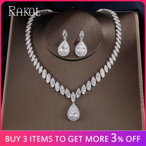 Image 3 - RAKOL Dubai Luxury Water Drop Cubic Zircon Necklace Earrings Bridal Sets for Women Shinny Crystal Wedding Party Dress Jewelry