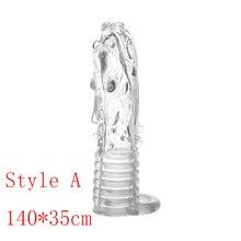 Reusable Condom Penis Extender Sleeve Rings Cock Cover Ring Dildo Sheath Penile Erection Massage Condoms Sex Toys for Men член