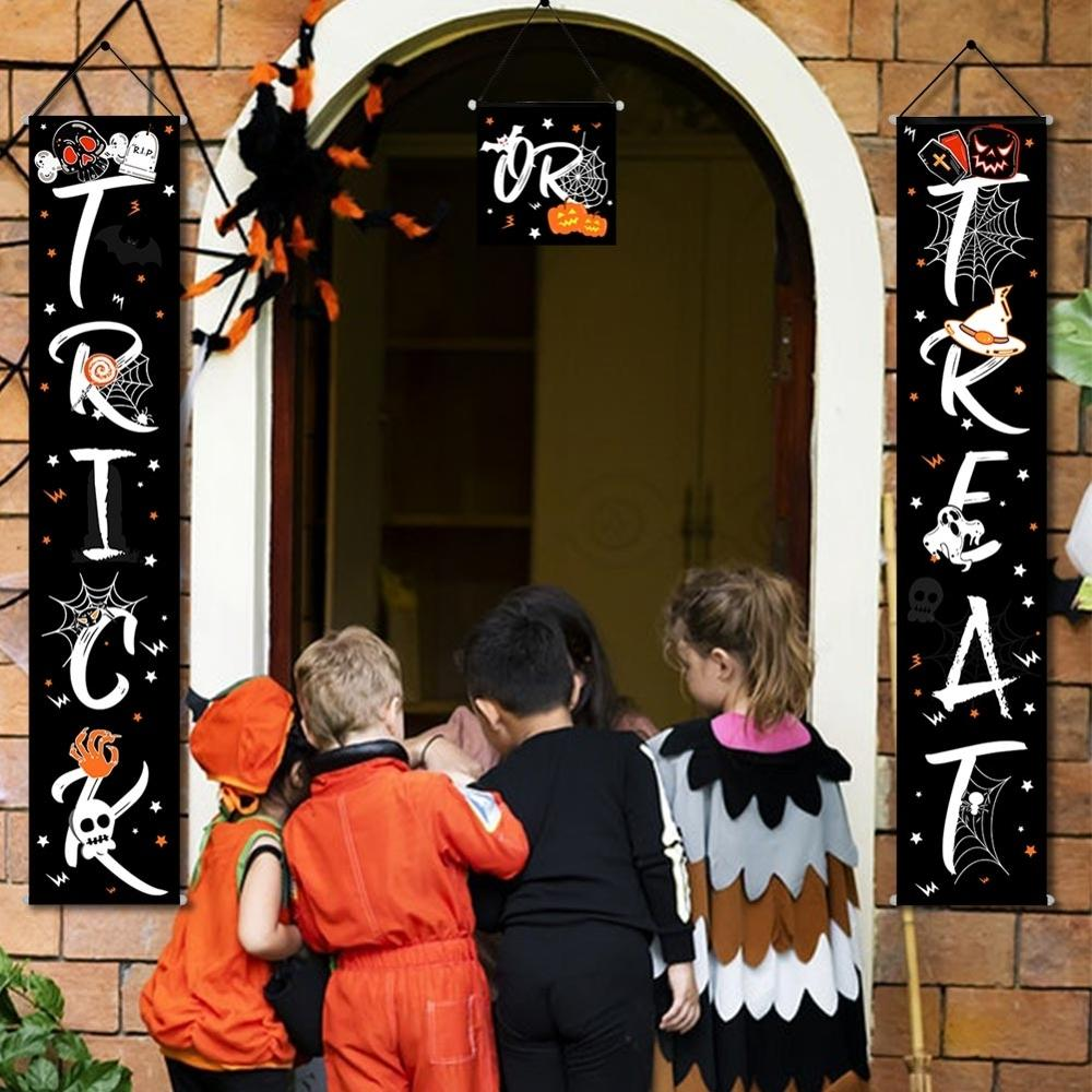 OurWarm Halloween Door Decoration Trick Treat Banner