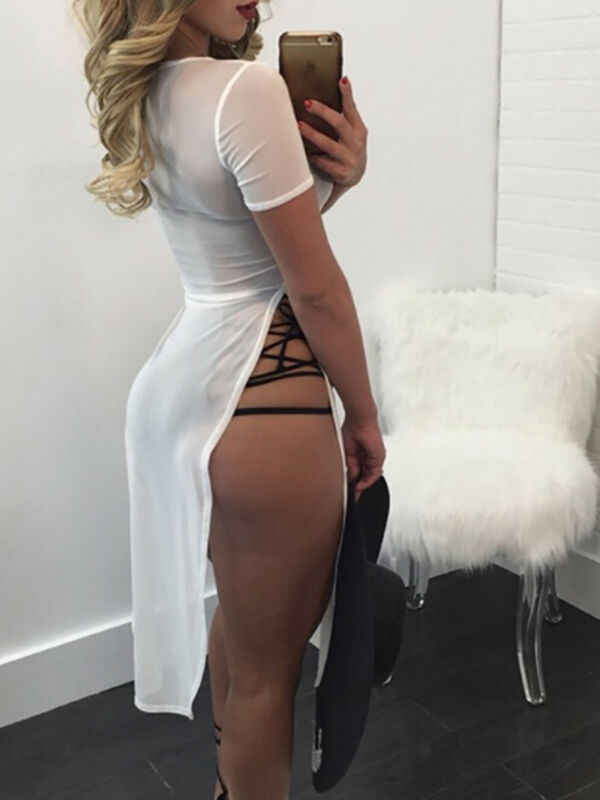 Vrouwen Haak Mesh See Through Bikini Beachwear Cover Up Beach Dress Zomer Badpak side Split