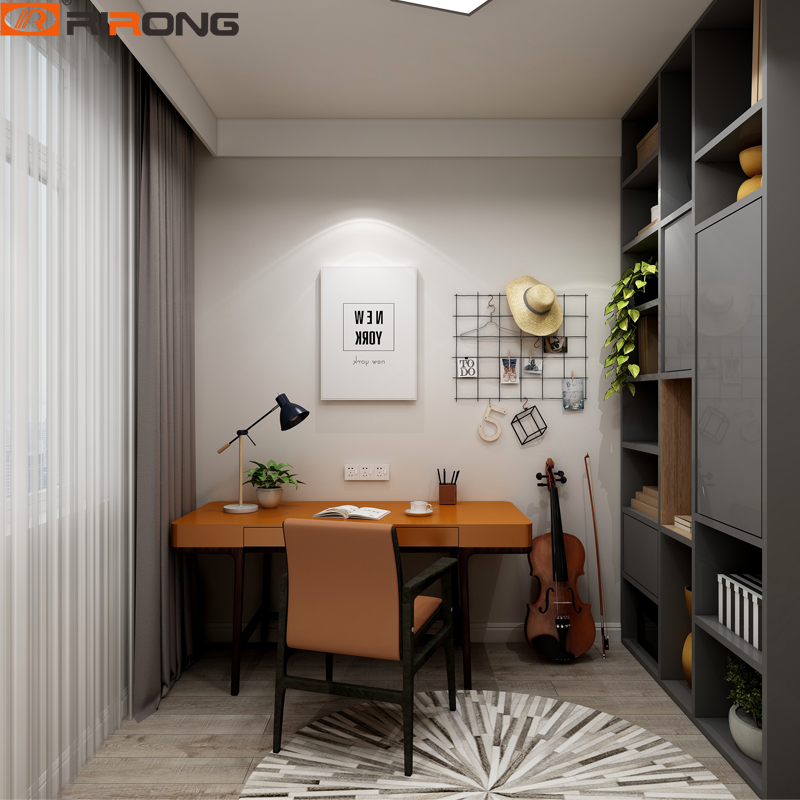 Simple Design Standing Small Home Study Room Furniture Orange Wood Computer Table Desk Chair Set