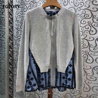 2020 Autumn Fashion Cardigan Jacket High Quality Women Vintage Embroidery Patchwork Long Sleeve Casual Knitted Cardigan Coat