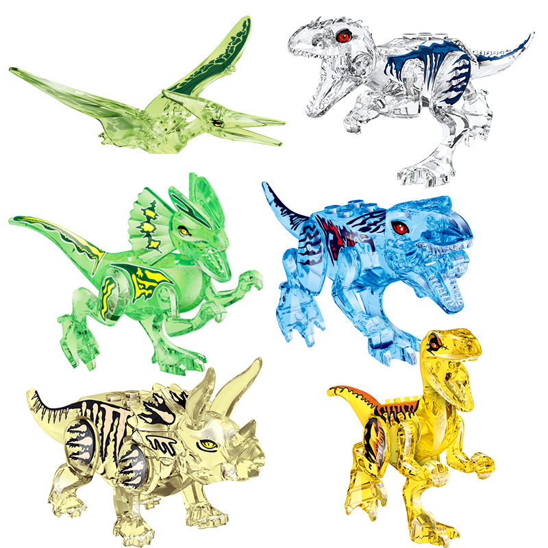 Assemble Building Blocks Crystal Dinosaur World Pterosaurs Triceratops Model Bricks Figures Toys For Children Birthday Gift