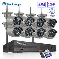 H.265 8CH беспроводная камера системы видеонаблюдения 1080P 2MP NVR комплект ИК наружная Wifi ip-камера двухсторонняя аудио видео система видеонаблюде...