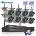 H.265 8CH Draadloze Camera Cctv Systeem 1080P 2MP Nvr Kit Ir Outdoor Wifi Ip Camera Two Way Audio Video security Surveillance Set