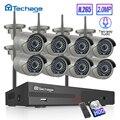 H.265 8CH Drahtlose Kamera CCTV System 1080P 2MP NVR Kit IR Outdoor Wifi IP Kamera Zwei Audio Video sicherheit Überwachung Set-in Überwachungssystem aus Sicherheit und Schutz bei