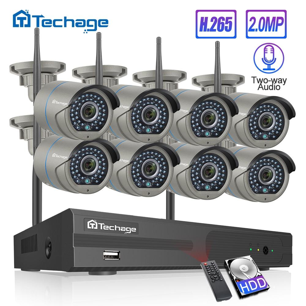 H.265 8ch sistema de cctv sem fio 1080 p 2mp nvr IR-CUT cctv ao ar livre wi-fi ip câmera bidirecional áudio vídeo kit de vigilância de segurança