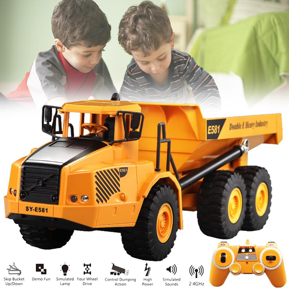 Toy Car Model - Large Remote Control Articulated Dump Truck Transportation Model Car Engineering Large Truck Tipping Bucket Car