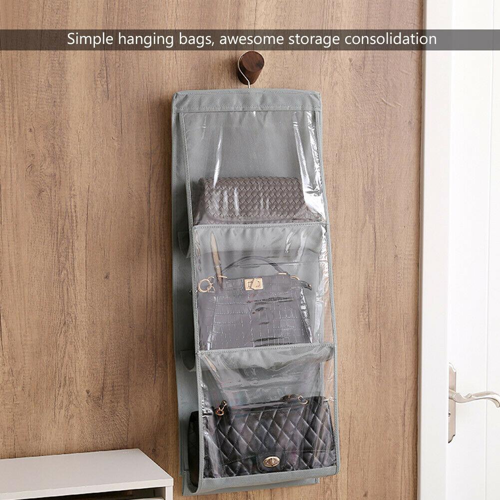 Hbf1254f6e0314e7fb4f3285dcfc53502E - 6 Pocket Foldable Hanging Bag 3 Layers Folding Shelf Bag Purse Handbag Organizer Door Sundry Pocket Hanger Storage Closet Hanger