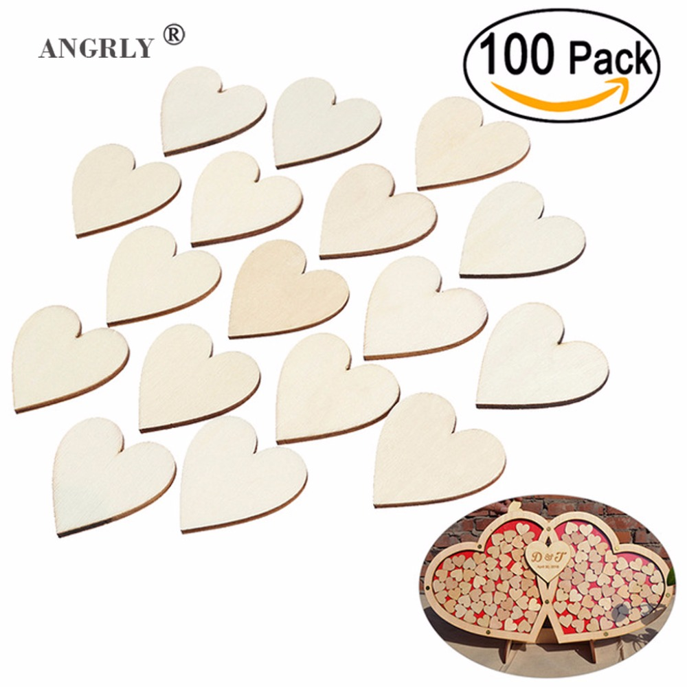 ANGRLY 100pcs 40mm Blank Heart Wood Slices Discs Wood Heart Love Blank Unfinished Natural Crafts Supplies Wedding Ornaments