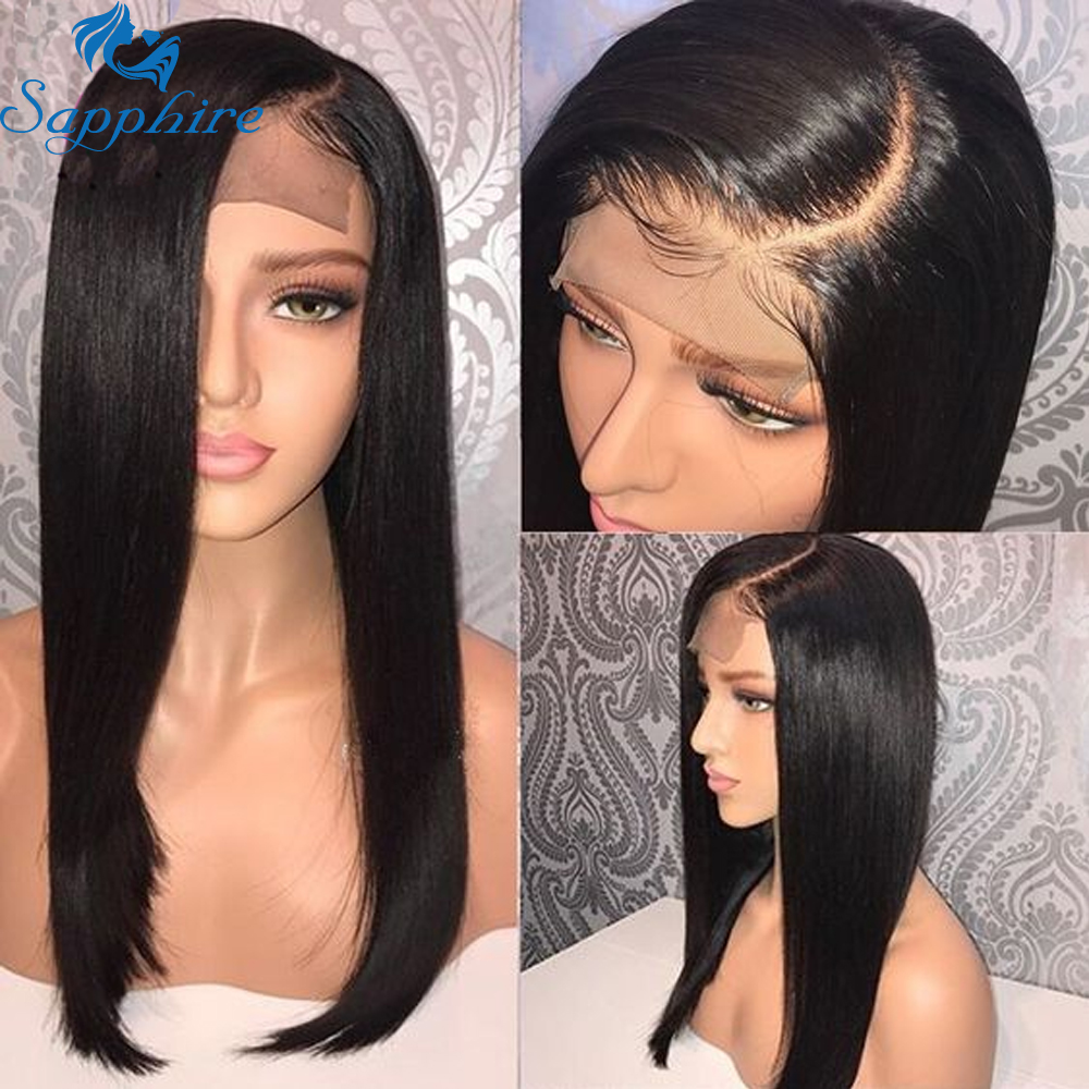 Sapphire 4x4 Lace Closure Wig  Straight Pre Plucked 100% Human Hair Wigs Bleached Knots Brazilian Lace Front Wig For Black Women