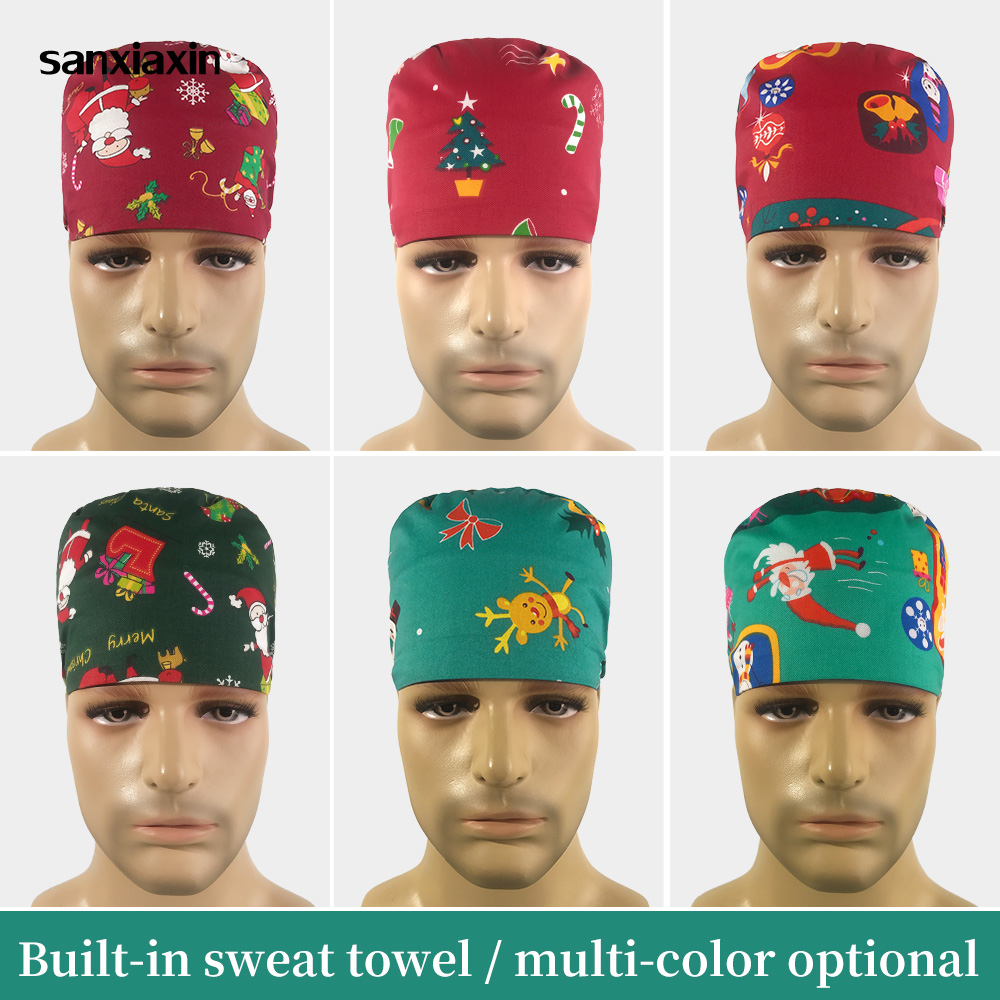 Medical Pharmacy Surgical Hat Christmas Print Scrub Pet Hospital Doctor Work Cap Cotton Nurse Cap Wholesale Nursing Accessories