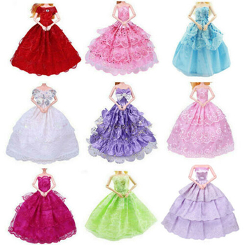 leadingstar 2017 new wedding bridal dress princess gown evening party dress doll clothes outfit for barbie doll for kids gift 9PCS Handmade Doll Dress Wedding Party Princess Clothes Outfit for 12in.
