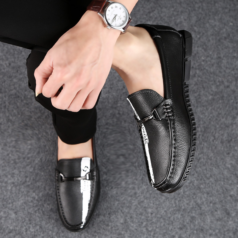 2019 new fashion men 39 s shoes casual genuine leather male loafers white black slip on shoe man comfortable driving shoes for men in Men 39 s Casual Shoes from Shoes