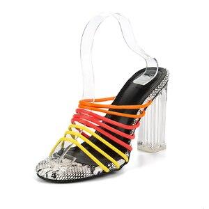Image 2 - Kcenid 2019 yeni seksi çok yılan baskı sandalet kadınlar açık parmaklı karışık renkli şeffaf blok topuk sandalet kristal terlik pompaları