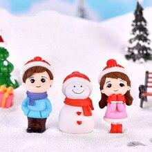 1 par de resina mini casal boneco de neve estátua artesanato jardim miniatura micro paisagem decoração maison natal