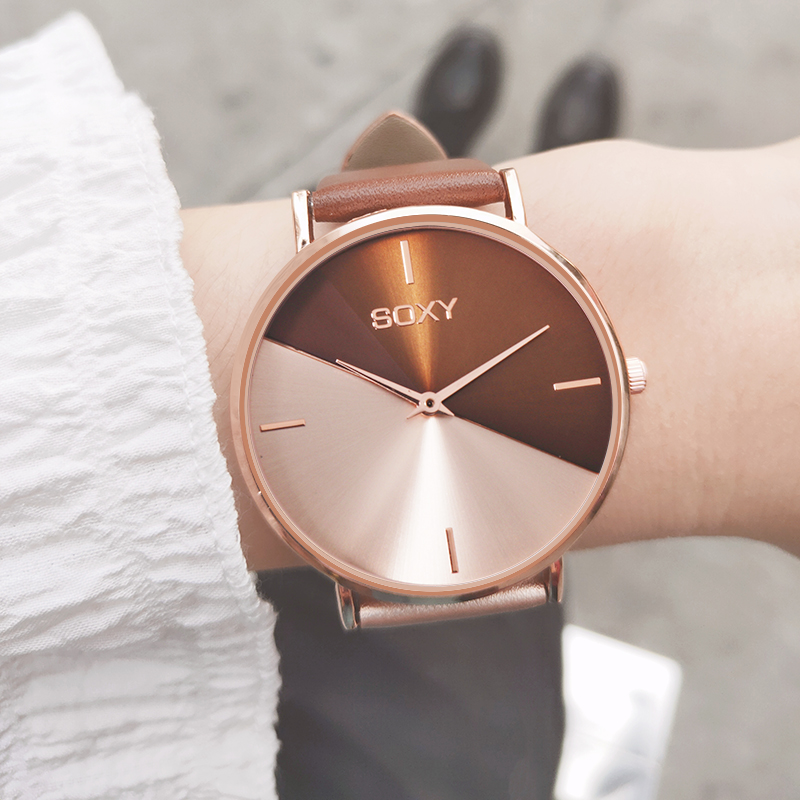 top brand women's watch leather rose gold dress female clock luxury brand design women watches simple fashion ladies watch 5