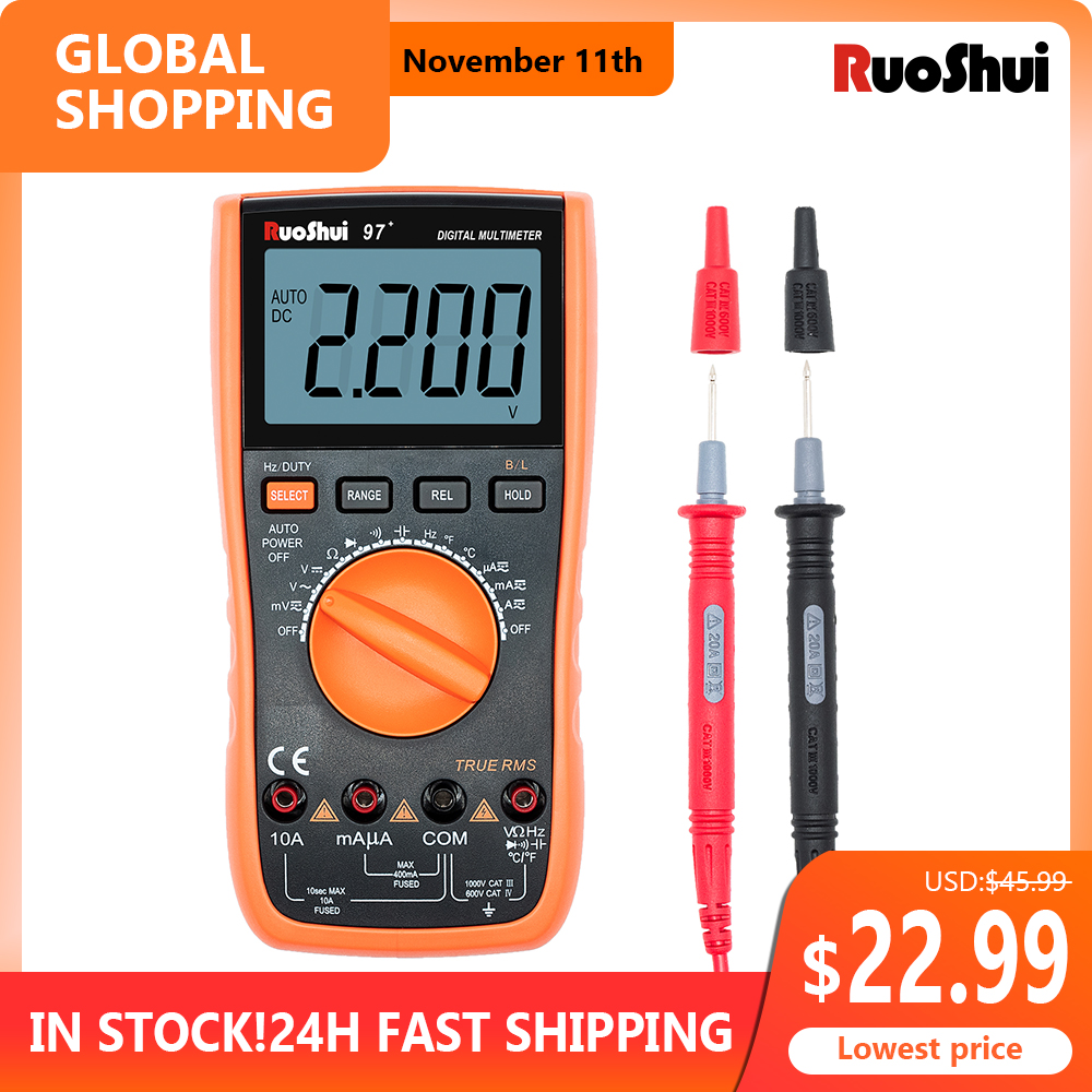 RuoShui 97  Multimeter True RMS AC DC Voltmeter Ammeter tester 1000V 20A Capacitance Frequency Resistance LED Digital multimetro
