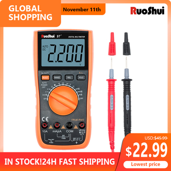 RuoShui 97+ Multimeter True RMS AC DC Voltmeter Ammeter tester 1000V 20A Capacitance Frequency Resistance LED Digital multimetro uni t ut89x ut89xd true rms digital multimeter true rms tester ac dc voltmeter ammeter 1000v 20a frequency led measure
