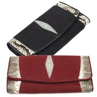 Authentic Real Stingray Leather Lady Long Wallet Large Card Holders Genuine Python Snakeskin Women Clutch Purse Female Money Bag