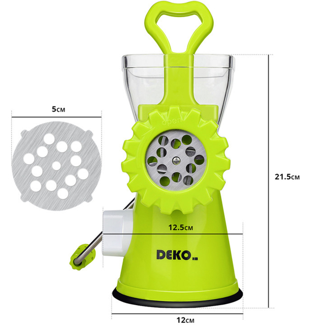 DEKO Manual Meat Grinder Multifunctional Vegetable Chopper Blender Mincer Enema Machine Household Kitchen Tools 6
