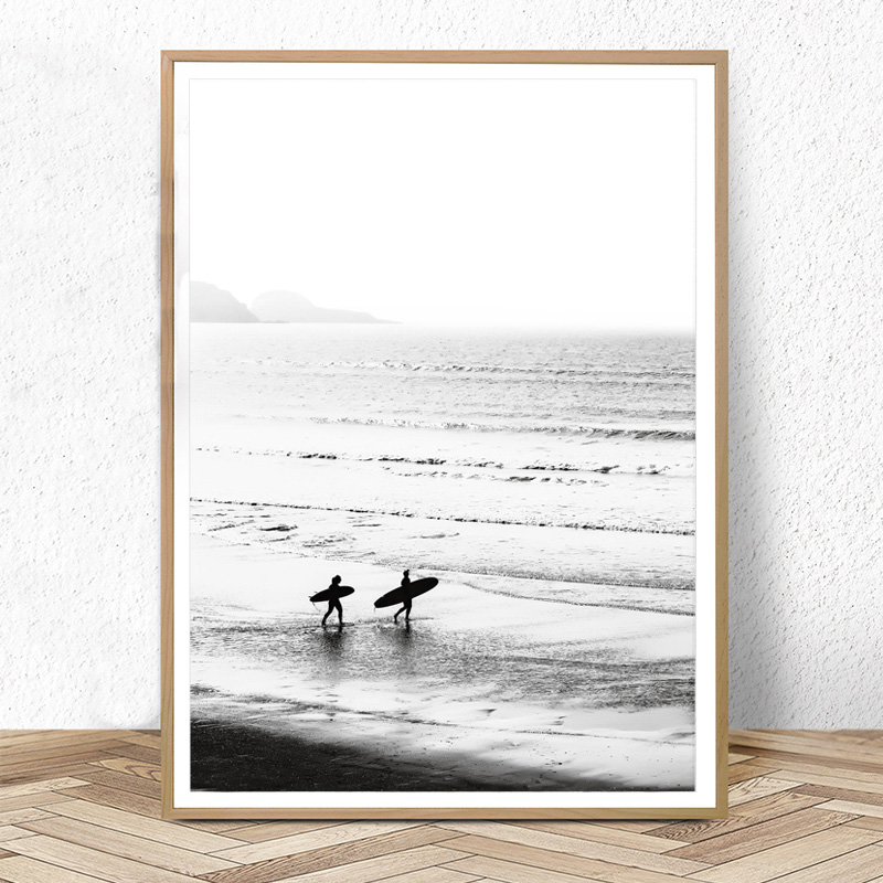 Black and White Surf Print California Wall Art Beach Poster Modern Ocean Canvas Painting Nordic Wall Pictures for Living Room