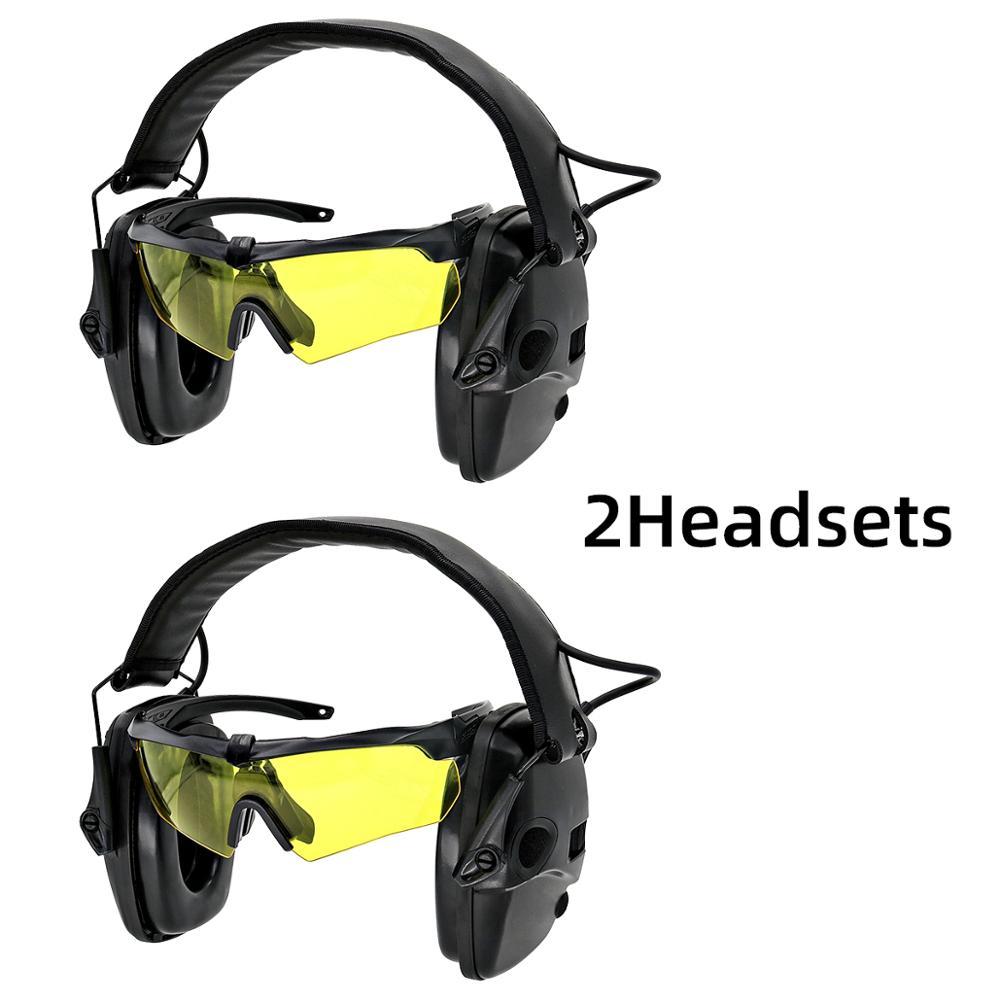 Tactical electronic shooting headphones anti-noise enhanced earmuffs professional glasses foldable  BK