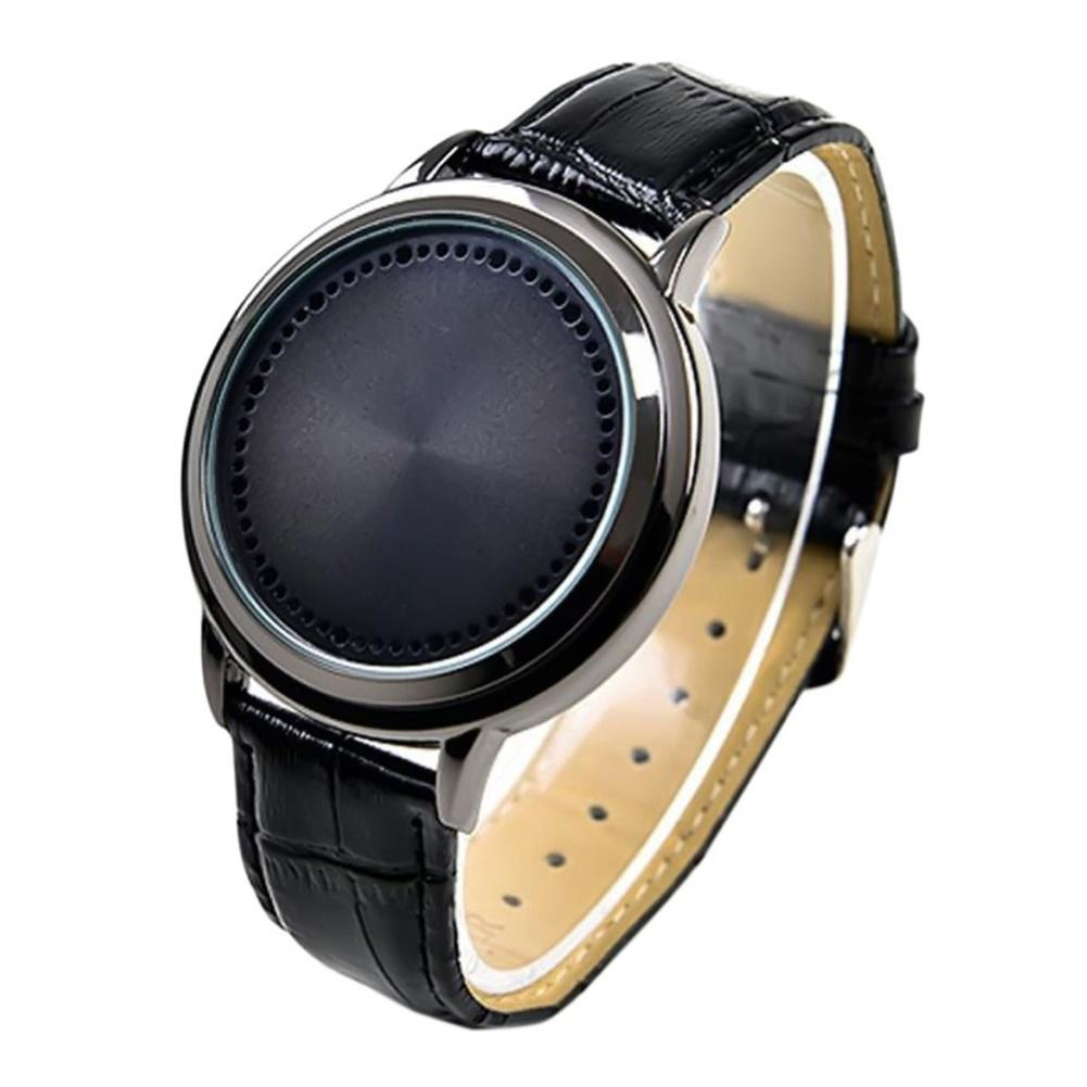 Fashion Men Couple Watch LED Touch Control Round Dial Faux Leather Band Quartz Wrist Watch Montre Femme часы мужские