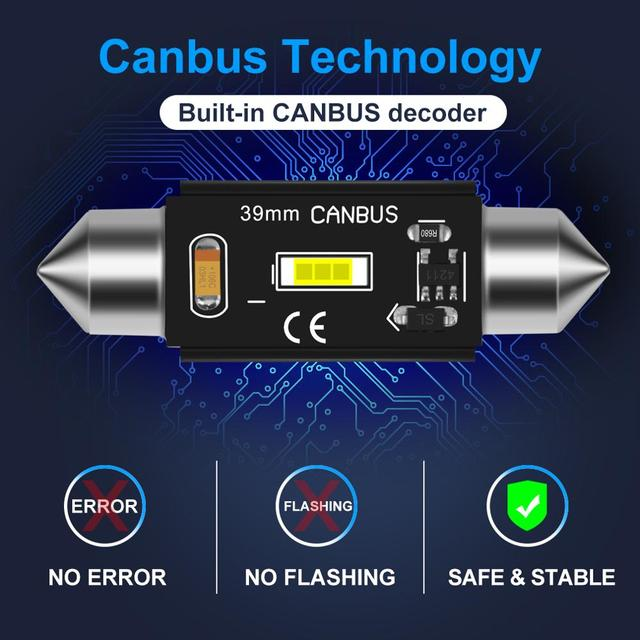 1pcs CSP Chips Canbus C5W C10W Led Bulb 31mm 36mm 39mm 41mm Car Festoon Light Interior Dome Reading Lights 6000K Pure White
