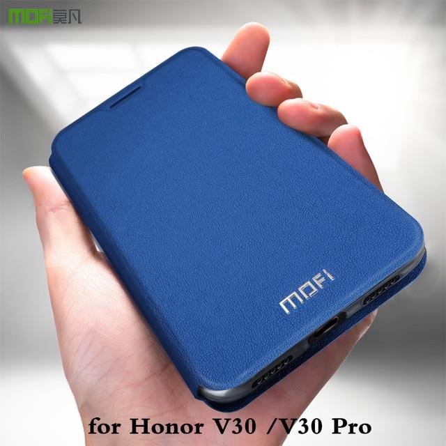Funda MOFi para Honor V30 V30Pro funda Huawei V30 Pro carcasa soporte TPU PU cuero libro soporte Folio vidrio