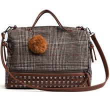 Classic Plaid Women Shoulder Bag Metal Rivet Fur Ball Fashion Handbag Comfort Cotton Fabric Boston Satchel for Mochila